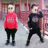 兒童唐裝冬季男童夾棉加厚款上衣寶寶刺繡新年衣服外套小孩拜年服