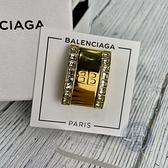 BRAND楓月 BALENCIAGA巴黎世家 金色 長方 水鑽 BB LOGO 耳夾 耳環 飾品 配件
