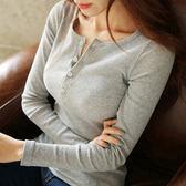 修身螺紋棉圓領鈕扣長袖T 針織上衣 (A-802)
