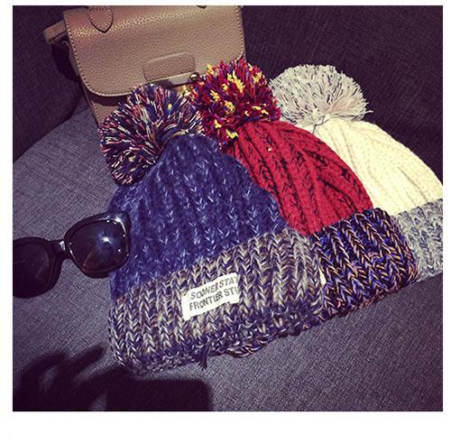 韓 毛帽 拼色 混色 字母 刺繡 帽子 毛球 毛線帽 毛絨球 毛茸 貼標 拼貼 針織帽