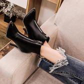 秋冬新款歐美金屬珠尖頭高跟短靴拉鏈細跟機車靴馬丁靴女鞋子    韓小姐