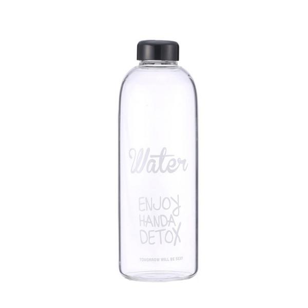 韓風 Water 1000ML 大容量玻璃杯 果汁瓶 便攜水壺瓶 耐熱玻璃杯 水杯 超大容量 買一送二 隨身瓶