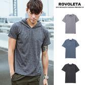 素色亞麻感短袖帽t【5V-7496】(ROVOLETA)