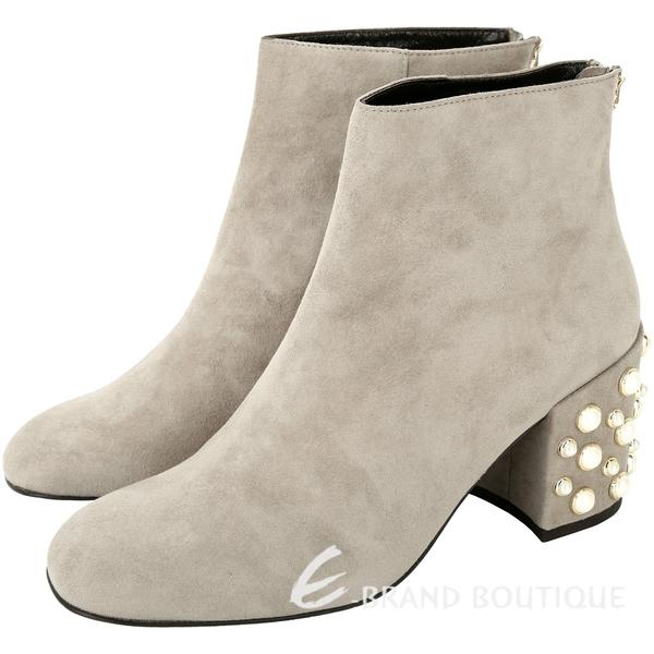 Stuart Weitzman Pearl Bacari 麂絨皮粗跟珍珠短靴 1810427-06
