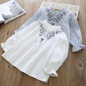 *╮小衣衫S13╭*公主系花邊領刺繡長袖襯衫1070331