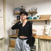 針織開衫 冰絲針織衫女開衫外套短款長袖新款黑色防曬衣  魔法鞋櫃