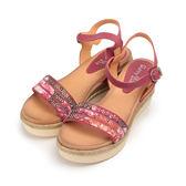 SUNNY YSA 真皮印花貼鑽楔形涼鞋 紅 女