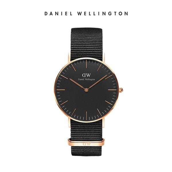 Daniel Wellington DW 手錶 36mm玫瑰金框 Classic Black 寂靜黑織紋手錶
