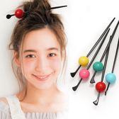 髮簪韓國甜美簡約球球髪釵 和風丸子頭盤髪頭飾晚晚髪簪 喵小姐