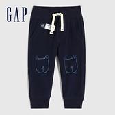 Gap嬰兒 碳素軟磨系列 法式圈織童趣運動休閒褲 690716-海軍藍