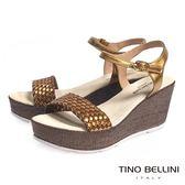 Tino Bellini 西班牙進口雙色編織舒足輕盈楔型涼鞋(咖金)_A63043  2016SS歐洲進口款