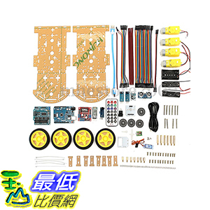 [106美國直購] 4WD Robot Car Kit UNO Bluetooth IR Obstacle Avoid Line Follow L298N for Arduino