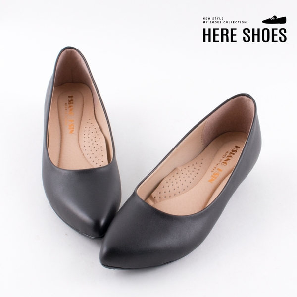 [Here Shoes]MIT台灣製 2.5cm跟鞋 舒適乳膠鞋墊 優雅氣質素面 皮革低跟尖頭包鞋 OL上班族-AA220