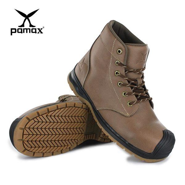 PAMAX 帕瑪斯-超彈力高抓地力戰鬥安全靴/PX8700EH-棕色瘋馬皮中筒靴/男女尺寸4-12-鞋頭防踢撞開口笑