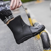 雨鞋男士時尚中短筒雨靴防水防滑廚房外賣保暖鞋水鞋低幫膠鞋套鞋 怦然心動