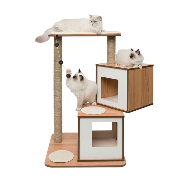 寵物家族-HAGEN 赫根Vesper 貓用實木精品家具 跳台-雙層公寓(白色)