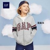 Gap男童 logo條紋條紋長袖連帽休閒外套 兒童上衣 358339-淺麻灰