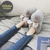 棉拖鞋女冬包跟韓版可愛毛拖鞋兔耳朵棉鞋保暖厚底居家室內月子鞋