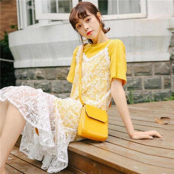 VK旗艦店 韓系寬松短袖t恤蕾絲吊帶裙時尚套裝短袖裙裝