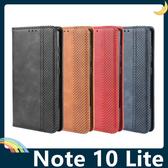三星 Galaxy Note 10 Lite 復古格紋保護套 磨砂皮質側翻皮套 隱形磁吸 支架 插卡 手機套 手機殼