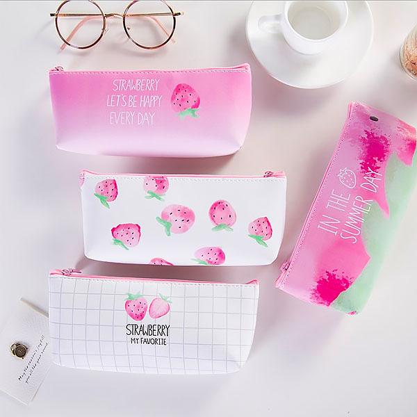 筆袋-日本可愛小清新草莓少女皮質防水收納袋 筆袋 鉛筆盒 文具收納【AN SHOP】