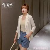 亞麻西裝外套夏季薄款韓版時尚修身休閒百搭氣質西服上衣女英倫風 極速出貨