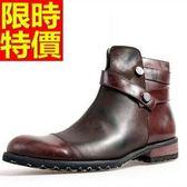 短筒機車靴-真皮革復古做舊男牛仔靴2色65h16[巴黎精品]