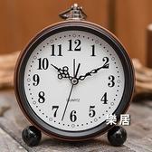 鬧鐘 簡約金屬學生時鐘兒童床頭專用靜音大數字電子復古創意鐘錶【快速出貨】