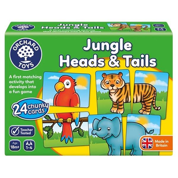 【英國 Orchard Toys】OT-058 兒童桌遊-配對遊戲 虎頭象尾 Jungle Heads & Tails