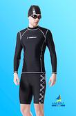【M7320 】梅林泳裝↘特賣~大男黑色搭白車線邊印字長袖上衣