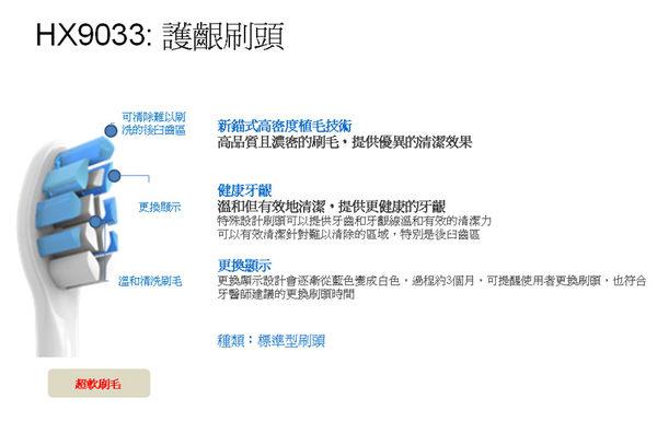 【原廠】 PHILIPS 飛利浦 牙齦護理標準型刷頭(三入裝) HX9033