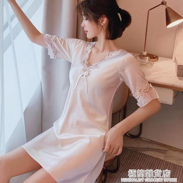 2021新款春夏季睡衣女絲綢睡裙薄款短袖冰絲性感韓版大碼網紅爆款 極簡雜貨