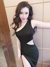 黑色小洋裝 洋裝小禮服宴會氣質閃亮亮絲性感斜領漏肩鏤空露腰無袖側開連衣裙【快速出貨】