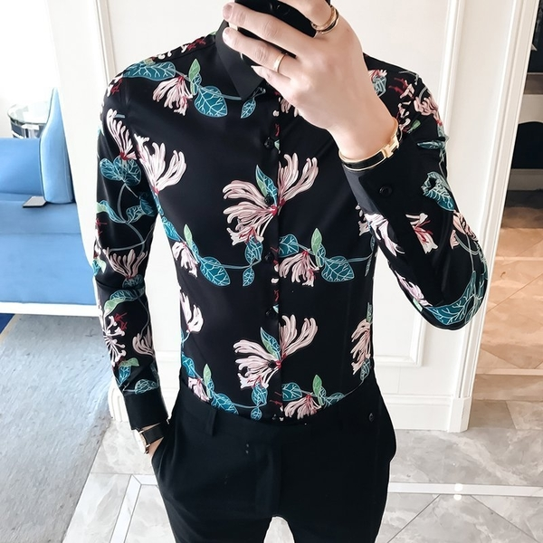 FINDSENSE G6 韓國時尚 春季新款男士長袖襯衫個性彩色印花碎花襯衫