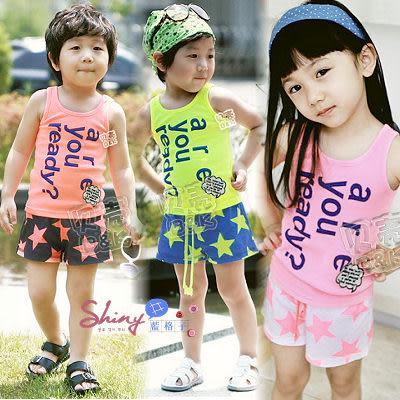 【TZ390】shiny藍格子-夏款男女兒童寶寶背心短褲二件套