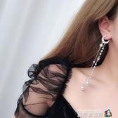 網紅耳環日韓氣質女長款流蘇耳環月亮珍珠耳墜個性潮人耳飾品 魔方數碼館
