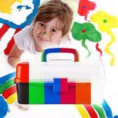 【限時下殺89折】美甲箱 畫畫美術工具箱小學生美甲透明三層塑料收納手提便攜工具盒dj