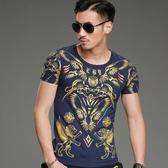 短袖T恤男 韓版潮流 休閒上衣 春夏季短袖中國風T恤時尚修身燙金wx3396