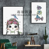 DIY數字油畫貓和魚填色裝飾手繪工兒童成人臥室減壓油彩【毒家貨源】