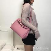 包包女新款荔枝紋鉑金包時尚手提包紅色新娘包單肩斜挎凱莉包 晴天時尚