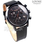 LOVME 剛毅時尚 堅定的意念 三眼計時碼錶 真皮腕錶 防水 藍寶石水晶 男錶 黑色 VL0055M-33-341
