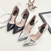 銀色淺口側空涼鞋尖頭鞋子高跟鞋性感細跟單鞋中跟東京戀歌
