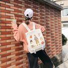 書包女韓版高中ins風2019新款時尚校園帆布糖果可愛大學生雙肩包韓