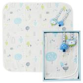 【奇哥】森林家族四層紗小蓋被禮盒-藍