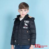JJLKIDS 男童 經典立領加厚極暖鋪棉羽絨連帽外套(黑色)