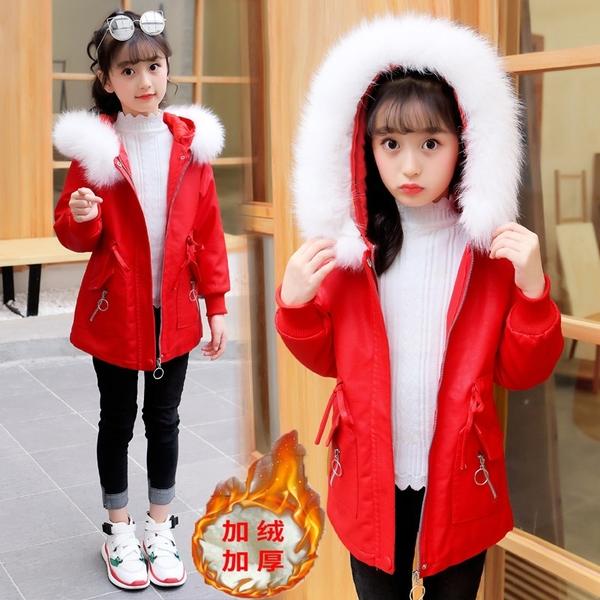韓版外套中大童上衣 兒童夾克外套加絨棉服 大毛領女童外套女孩棉襖 秋冬羽絨服潮流羽絨外套