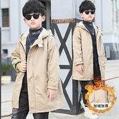 連帽風衣中大童韓版外套 加絨加厚夾克外套兒童 7Plus羽絨外套男孩 秋冬男寶寶棉衣