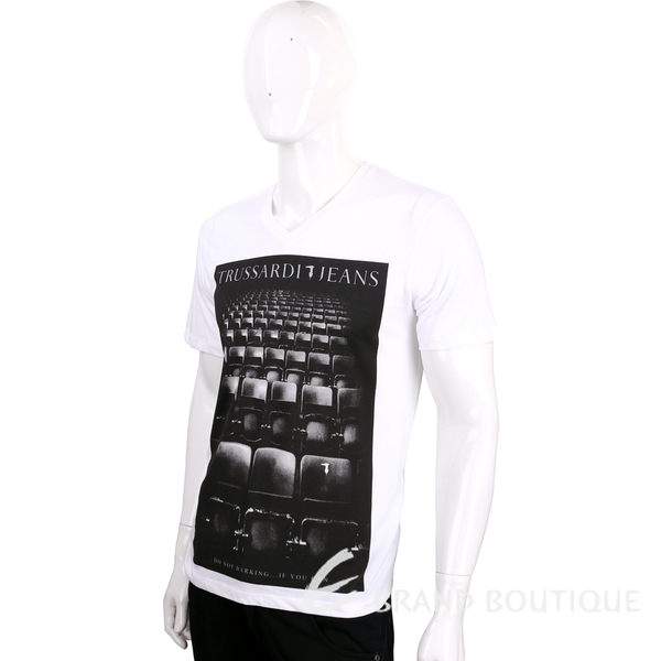 TRUSSARDI 白色電影院圖騰棉質短袖T恤 1620451-20