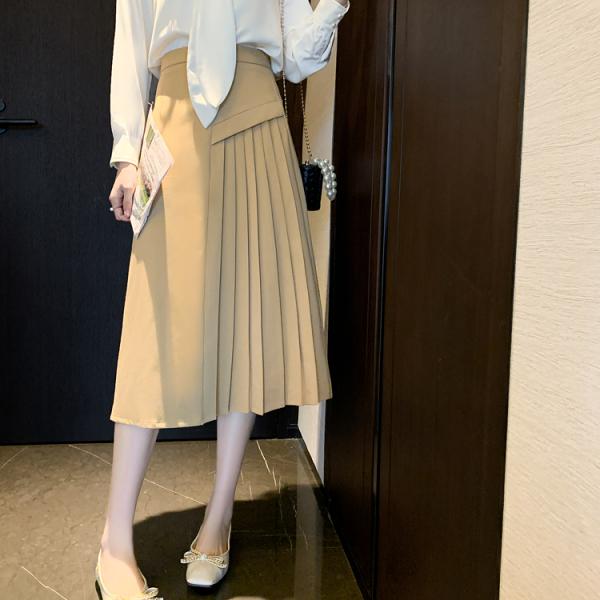 裙子.質感設計拼接百褶A字半身裙.白鳥麗子