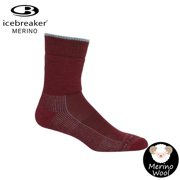 【Icebreaker 女 中筒中毛圈健行襪《酒紅》】105114/快乾機能襪/排汗襪/羊毛襪